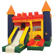 Multi-colored 4-n-1 castle combo w/outside slide