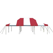 Red and White Double Peak Pole Tent